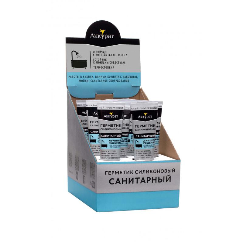 Герметик санитарный прозрачный .ТМ Аккурат 80 мл