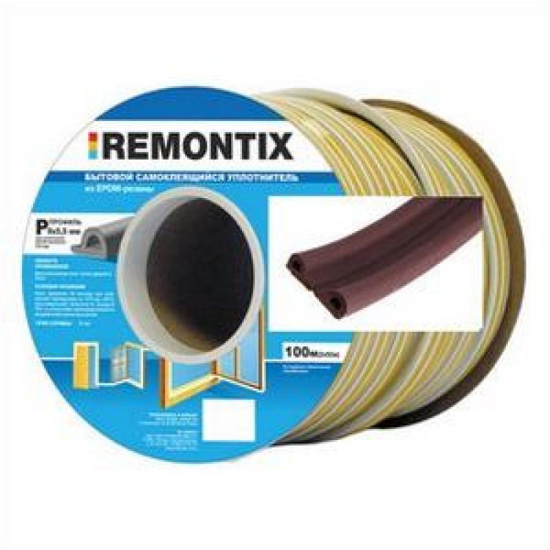Уплотнитель P-профиль. Remontix бытовой самоклеящийся 9х5,5 мм. Бобина 50х2 м.